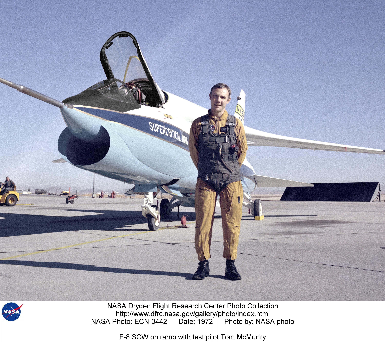 F-8SCW ECN-3442: F-8 SCW on ramp with test pilot Tom McMurtry