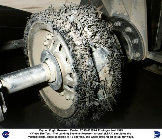 LSRA EC95-43229-1: Close-up of Shuttle tire after LSRA test