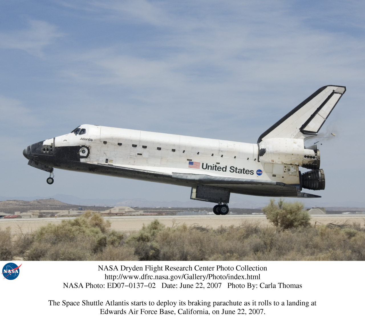 during a space shuttle landing a parachute deploys - photo #20