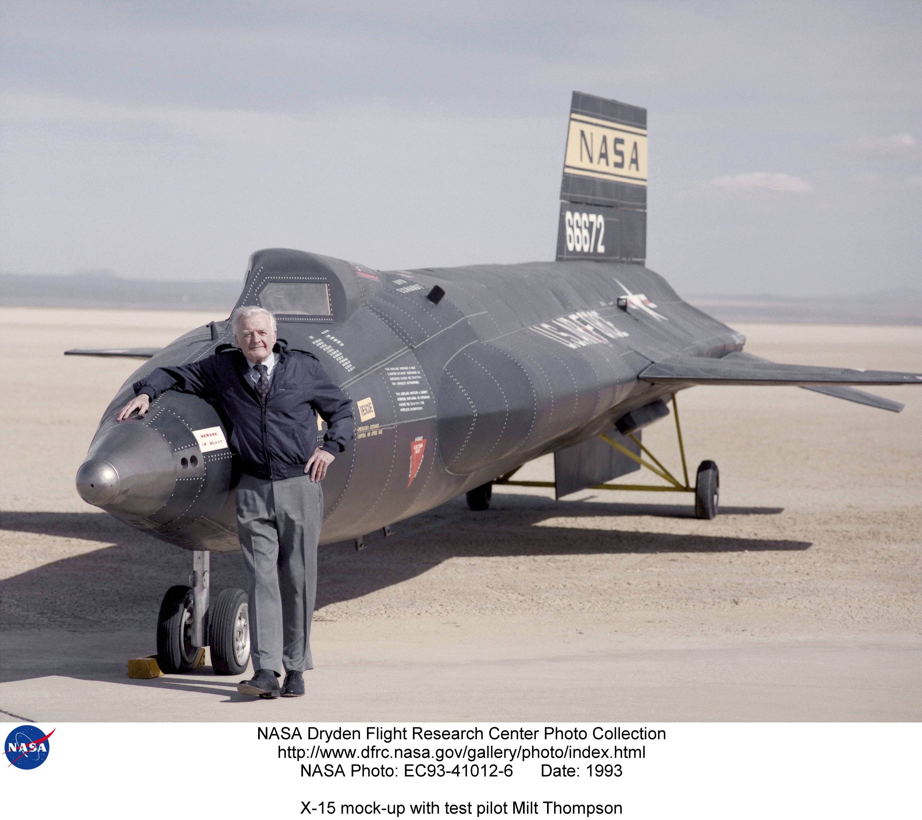 X-15 EC93-41012-6: X-15 mock-up with test pilot Milt Thompson
