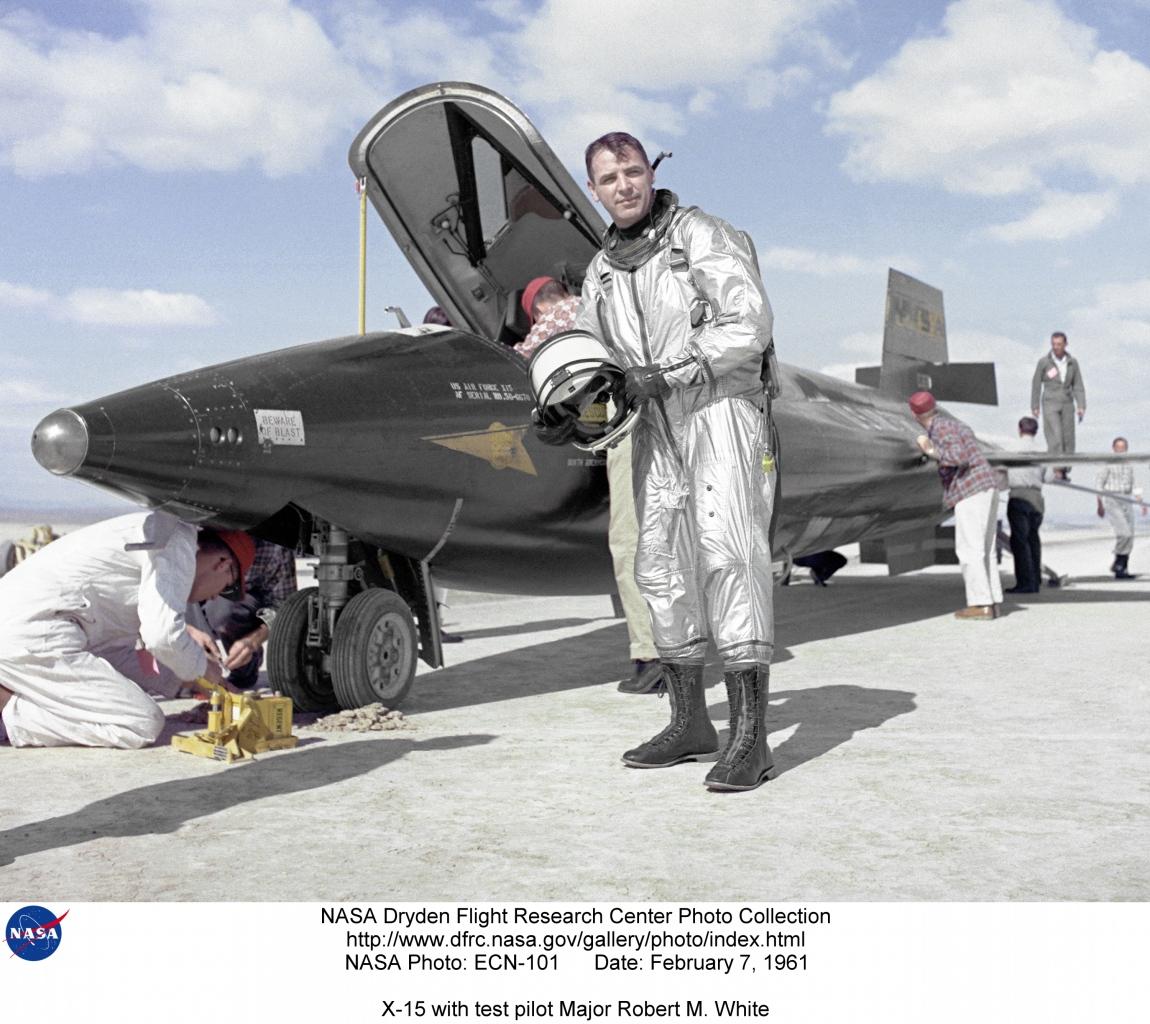 X-15 ECN-101: X-15 with test pilot Major Robert M. White