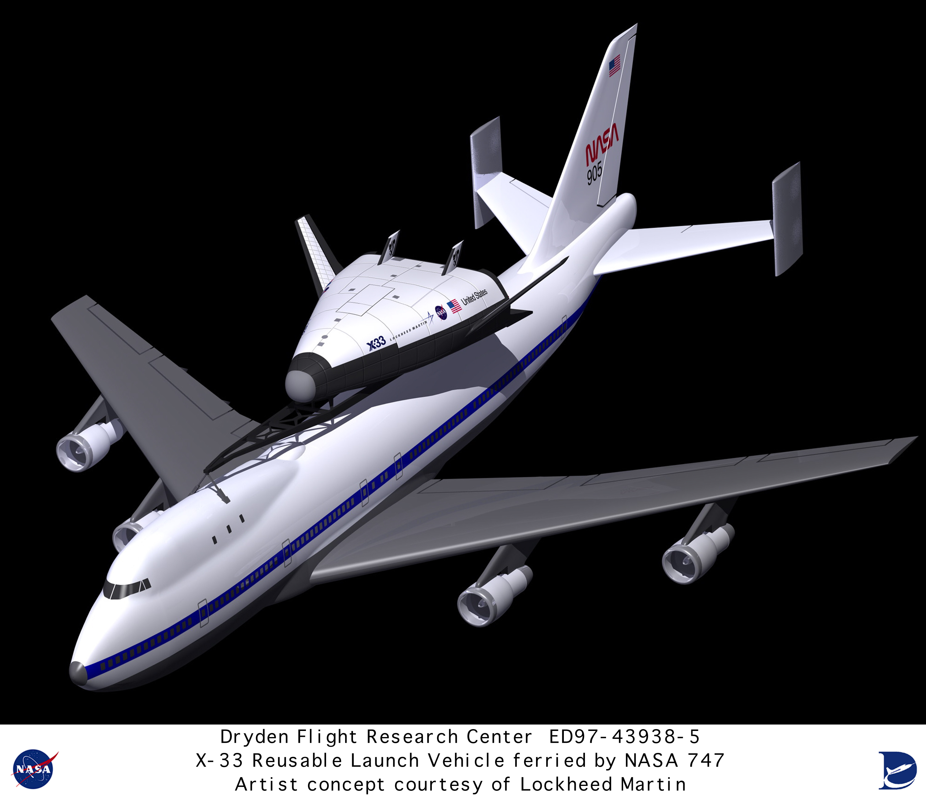 X-33 ED97-43938-5: Computer graphic of Lockheed Martin X ...